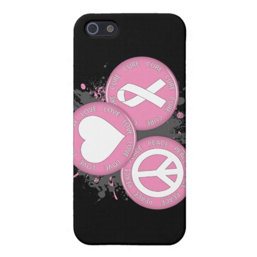 Peace Love Cure Tri-Buttons - Breast Cancer iPhone 5 Covers