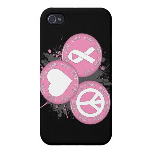 Peace Love Cure Tri-Buttons - Breast Cancer Cases For iPhone 4