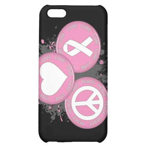 Peace Love Cure Tri-Buttons - Breast Cancer iPhone 5C Cover