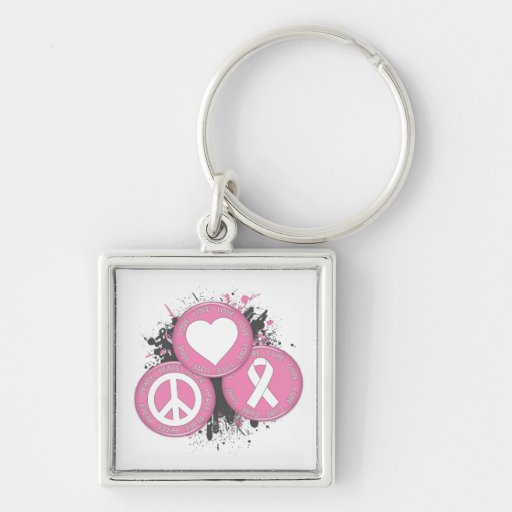 Peace Love Cure Tri-Buttons - Breast Cancer Keychains