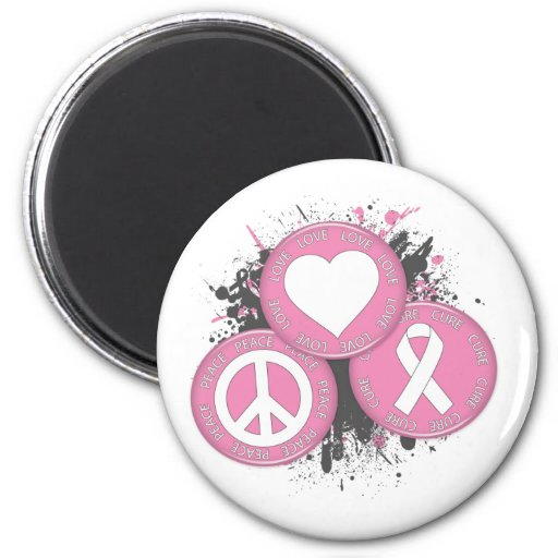 Peace Love Cure Tri-Buttons - Breast Cancer Refrigerator Magnets