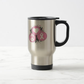 Peace Love Cure Tri-Buttons - Breast Cancer Mugs