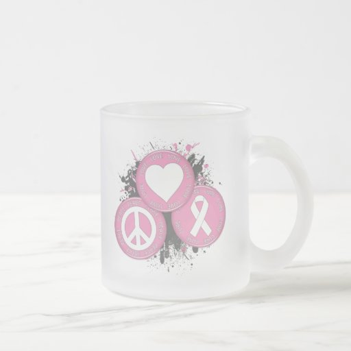 Peace Love Cure Tri-Buttons - Breast Cancer Coffee Mugs