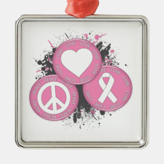 Peace Love Cure Tri-Buttons - Breast Cancer Ornament