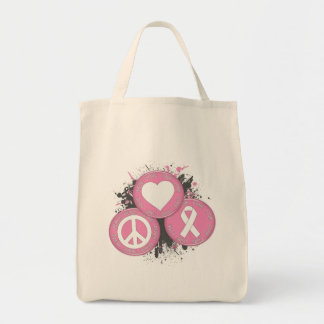 Peace Love Cure Tri-Buttons - Breast Cancer Bag