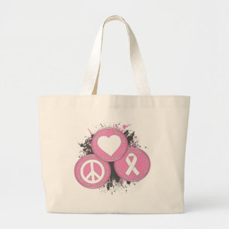 Peace Love Cure Tri-Buttons - Breast Cancer Tote Bag