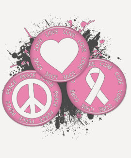Peace Love Cure Tri-Buttons - Breast Cancer T Shirt