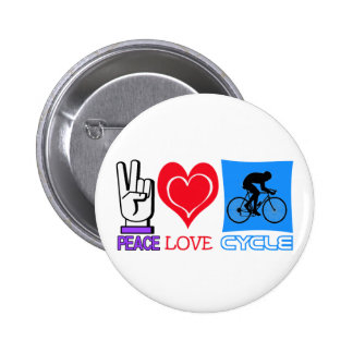 PEACE LOVE CYCLE 6 CM ROUND BADGE