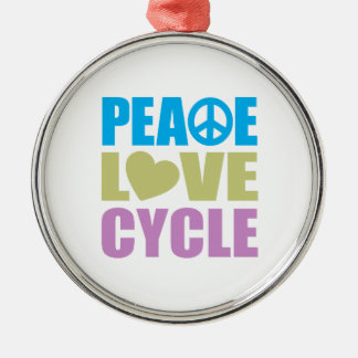 Peace Love Cycle Silver-Colored Round Decoration