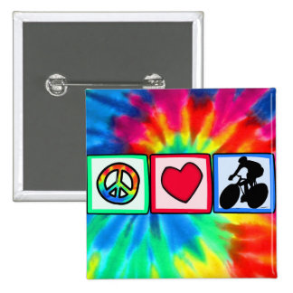 Peace, Love, Cycling 15 Cm Square Badge