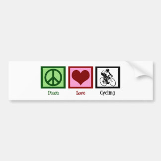 Peace Love Cycling Bumper Sticker
