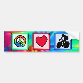 Peace, Love, Cycling Bumper Sticker