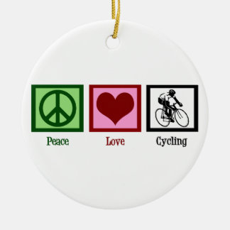 Peace Love Cycling Round Ceramic Decoration