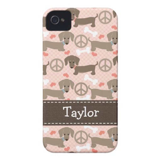 Peace Love Dachshund Doxies 4 4s Case-Mate Cover iPhone 4 Cover