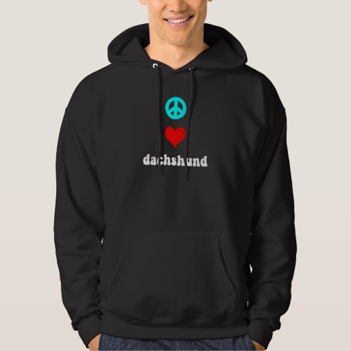 Peace love Dachshund Hooded Pullovers