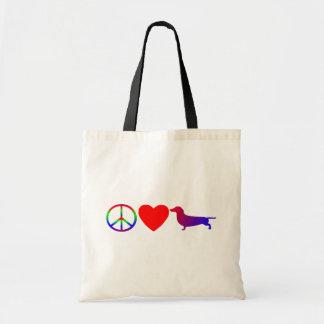 Peace Love Dachshunds Bag