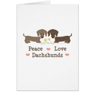 Peace Love Dachshunds Greeting Card