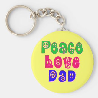 Peace Love Dad Gifts Keychain