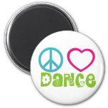 Peace Love Dance 6 Cm Round Magnet