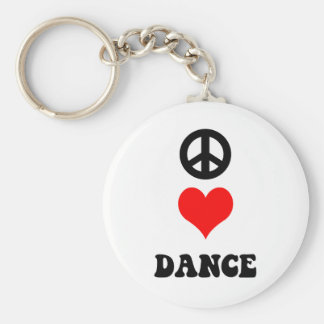 Peace Love Dance Basic Round Button Key Ring