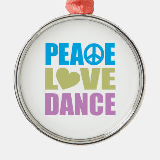 Peace Love Dance Silver-Colored Round Decoration