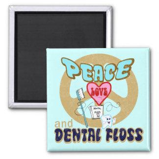 PEACE LOVE DENTAL FLOSS MAGNET