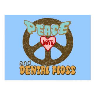 Peace Love Dental Floss Vintage Postcard