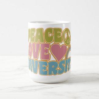 PEACE LOVE DIVERSITY mug – choose style & color