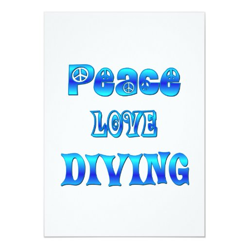 Peace Love Diving 13 Cm X 18 Cm Invitation Card