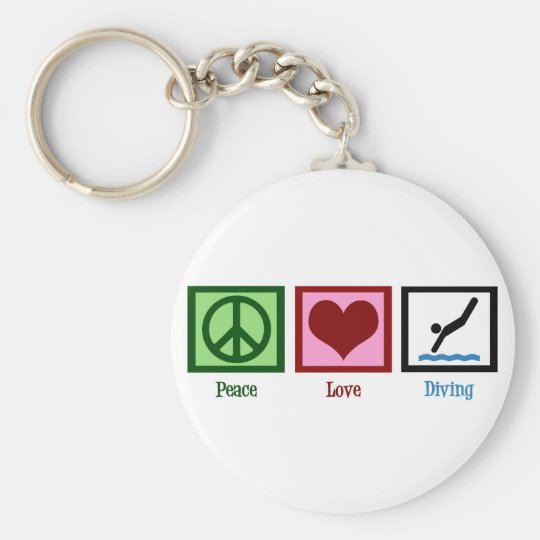 Peace Love Diving Basic Round Button Key Ring