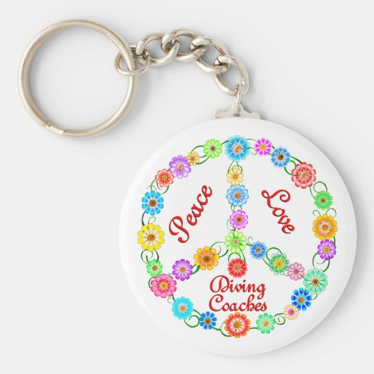 PEACE LOVE DIVING COACHES BASIC ROUND BUTTON KEY RING