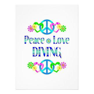Peace Love Diving Custom Invitations