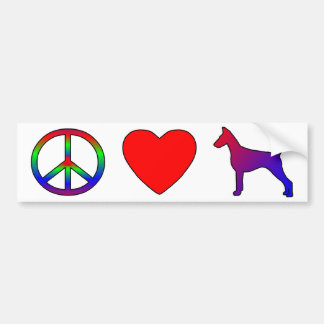 Peace Love Doberman Pinschers Bumper Sticker