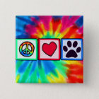 Peace, Love, Dog; Pawprint 15 Cm Square Badge