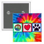 Peace, Love, Dog; Pawprint 15 Cm Square Badge