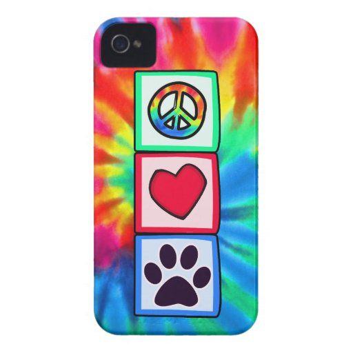Peace, Love, Dog; Pawprint iPhone 4 Case-Mate Cases