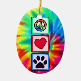 Peace, Love, Dog; Pawprint Christmas Ornament