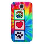 Peace, Love, Dog; Pawprint Galaxy S4 Case