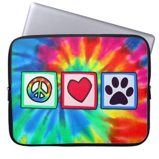 Peace, Love, Dog; Pawprint Laptop Sleeve