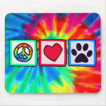 Peace, Love, Dog; Pawprint Mouse Pad