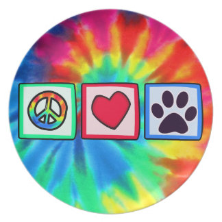 Peace, Love, Dog; Pawprint Plate