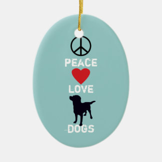 Peace Love Dogs Ceramic Oval Decoration