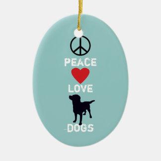 Peace Love Dogs Ceramic Oval Decoration