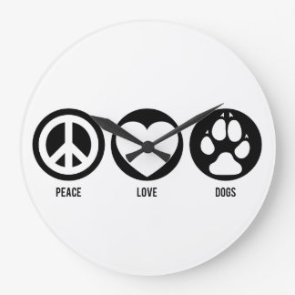 Peace Love Dogs Large Clock