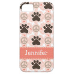 Peace Love Dogs Paw Print Case For The iPhone 5