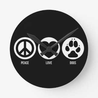 Peace Love Dogs Round Clock