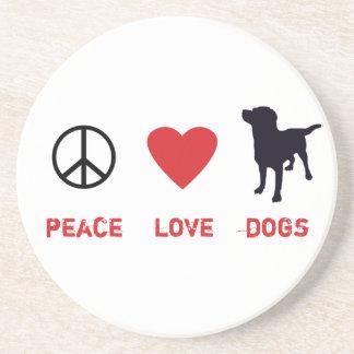Peace Love Dogs Sandstone Coaster