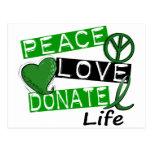 PEACE LOVE DONATE LIFE POST CARD