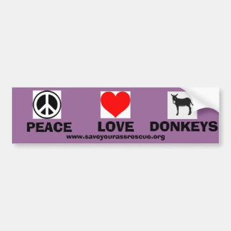Peace Love Donkeys Bumper Sticker