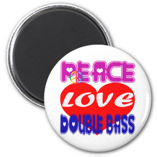 Peace Love Double Bass Refrigerator Magnet